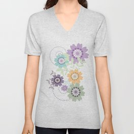 Flowers and Swirls Unisex V-Neck