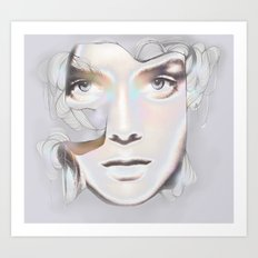 HER BREATH ON GLASS Art Print