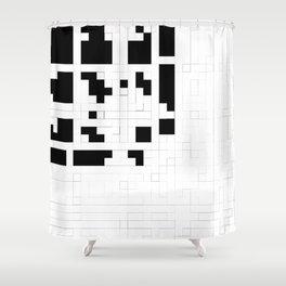 Monochrome Pixels Shower Curtain