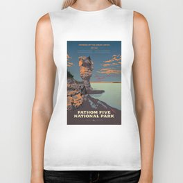 Fathom Five National Park Poster (Flowerpot Island) Biker Tank