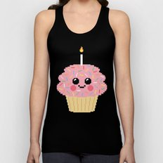 Happy Pixel Cupcake Unisex Tank Top