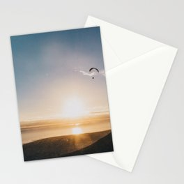 Sunset Paragliding over beach and mountains - Landscape Photography #Society6 Stationery Cards