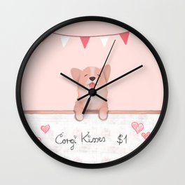 Corgi Kisses Wall Clock
