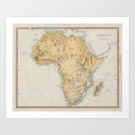 Vintage Africa Map (1830) Vintage African Continent Atlas Art Print