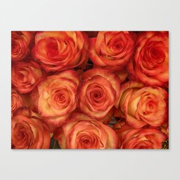 Red color rose flowers pattern Canvas Print