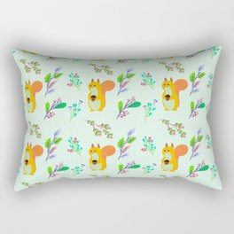 Cute hand painted yellow orange squirrel teal coral floral pattern Rectangular Pillow