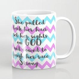 She Pulled Back her Hair (Chevron Aqua Magenta) Coffee Mug