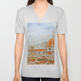 Italy Florence Cathedral Duomo watercolor painting Unisex V-Neck