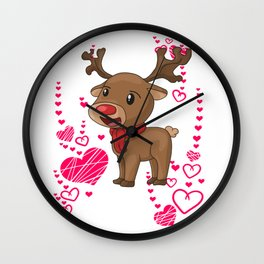 Reindeer Christmas Heart Love Wall Clock