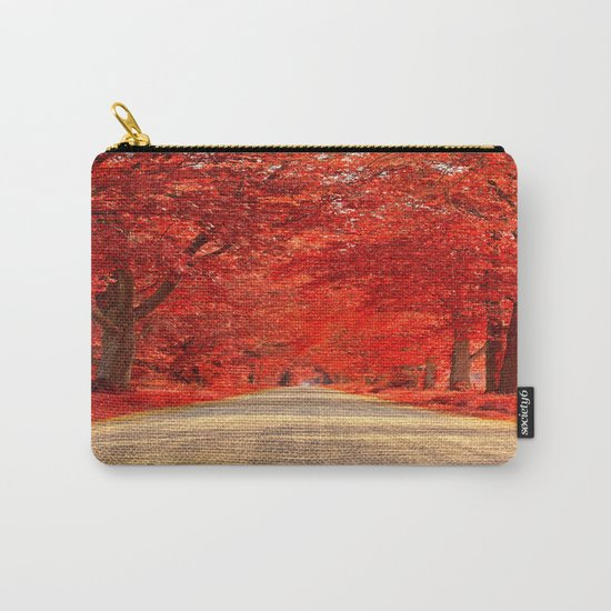 Red Forest Autumn Path Carry-All Pouch