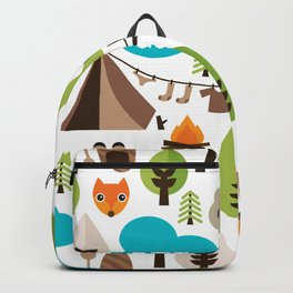 Wild camping trip with fox and wild animals illustration Backpack