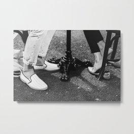 Paris date night   City of romance   seated couple on terrace   Paris, France Black & White Photography  Metal Print