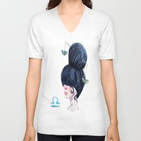 libra V-neck T-shirts featuring Libra by Aloke Design