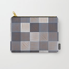 Rust strokes on Blue Grey Checks Carry-All Pouch