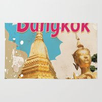 travel poster Area & Throw Rugs featuring Bangkok Vintage Travel Poster by Nick's Emporium