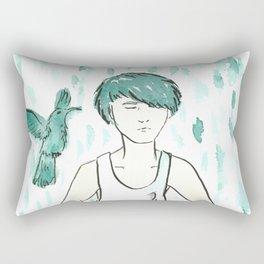 Green hair and hummingbird contemplating about life Rectangular Pillow