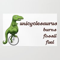 pocket fuel Area & Throw Rugs featuring Unicyclesaurus: Burning Fossil Fuel by Nomadic Concepts/Julia Shahin Collard