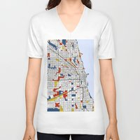 mondrian V-neck T-shirts featuring Chicago Mondrian by Mondrian Maps