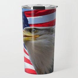 American Flag and Bald Eagle Travel Mug