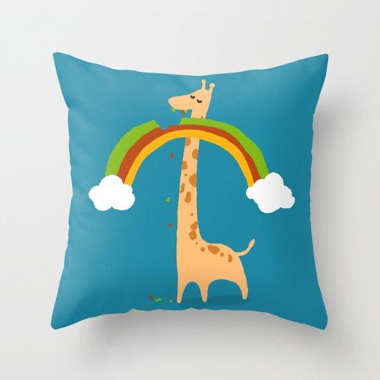 Taste of Happiness Rainbow Throw Pillow