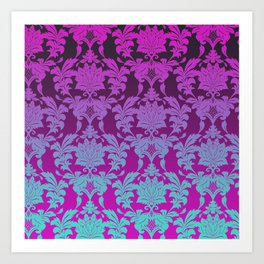 Ombre Damask Art Print