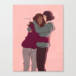 Girlfriends in hoodies Canvas Print