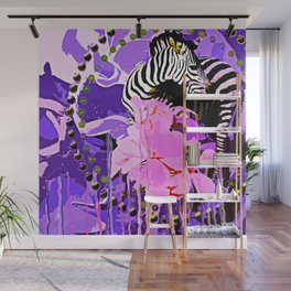 Zebras and Flowers Wall Mural