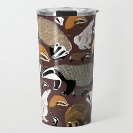 Eurasian badgers pattern Maroon Travel Mug