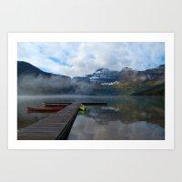 Canoes at Waterton Parks Art Print