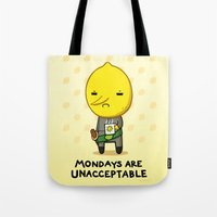 lemongrab Tote Bags featuring Yay Monday, Lemongrab by fablefire