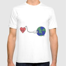 World and Love White MEDIUM Mens Fitted Tee