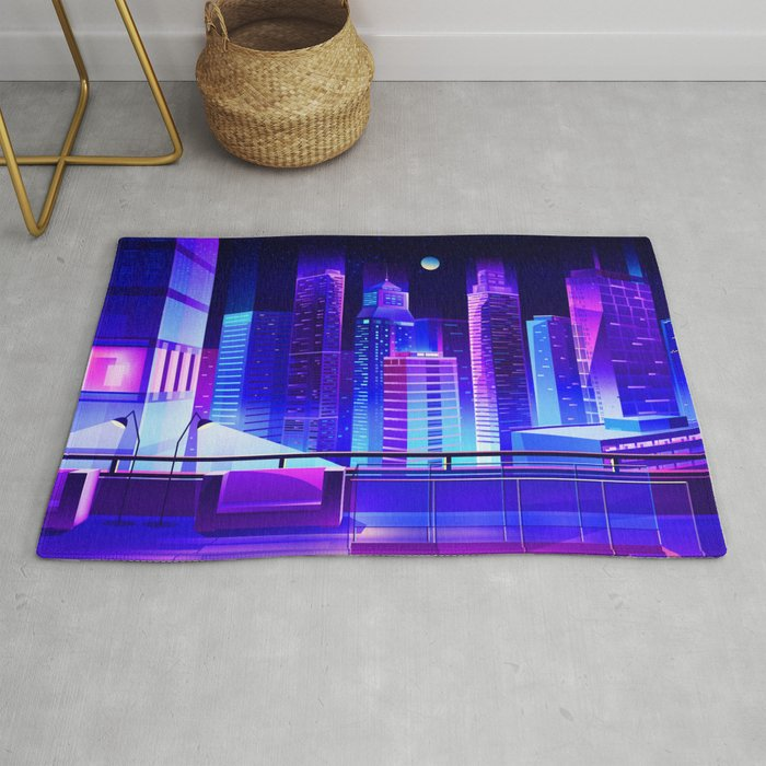 Synthwave Neon City #11 Rug