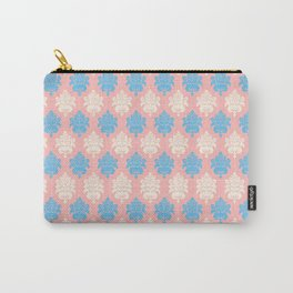 Vintage pastel coral blue ivory floral damask pattern Carry-All Pouch
