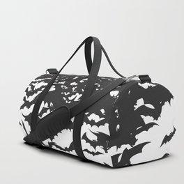 Halloween Bat Black and White Pattern Duffle Bag