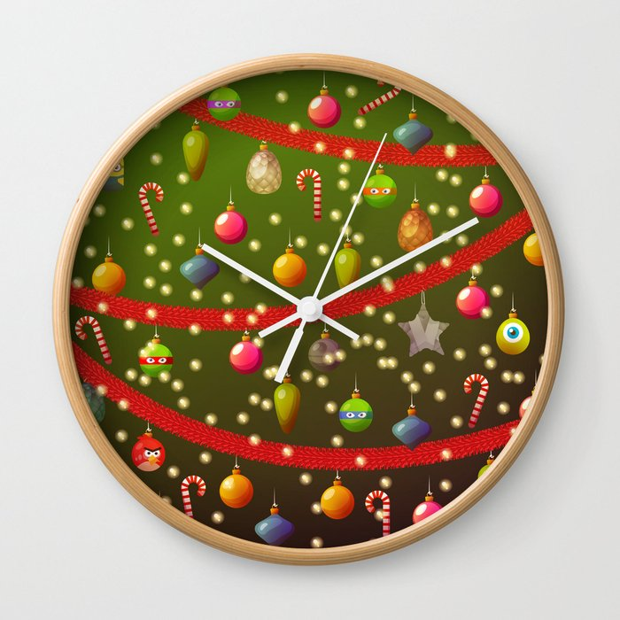 Look at these Christmas decorations! Wall Clock