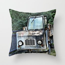 Abandoned and rusted truck Throw Pillow