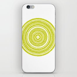 Lime green dot art painting iPhone Skin