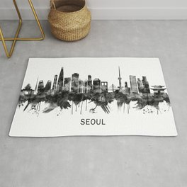 Seoul South Korea Skyline BW Rug