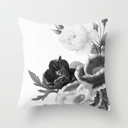 grayscale poenies and roses Throw Pillow