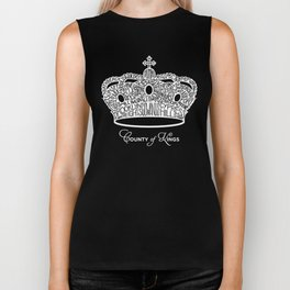County of Kings | Brooklyn NYC Crown (WHITE) Biker Tank