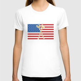 Medieval Weapon American Flag Plague Doctor T-shirt