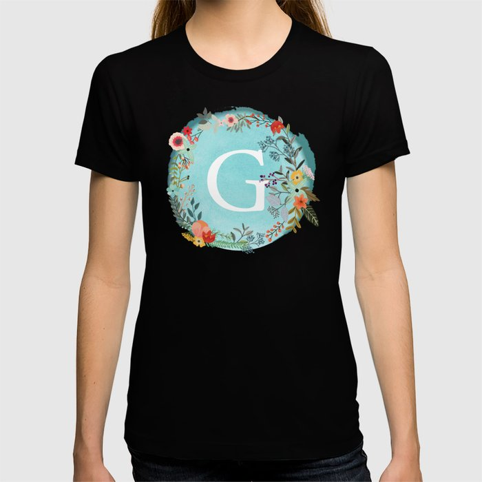 Personalized Monogram Initial Letter G Blue Watercolor Flower Wreath Artwork T-shirt