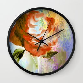 Red Rose With Psychedelic Background By Annie Zeno Wall Clock