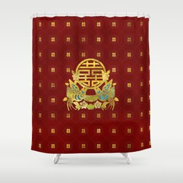 Gold Double Happiness Symbol with  birds Shower Curtain