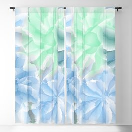 Big Flowers With Blue and Green Blackout Curtain