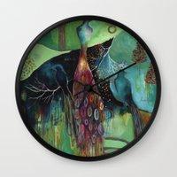 "flora bowley Wall Clocks featuring ""Light Trio"" Original Painting by Flora Bowley by Flora Bowley"