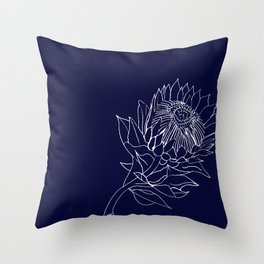 King Protea Outline - Navy and White Throw Pillow