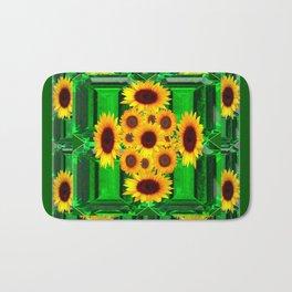 SPRING GREEN YELLOW FLOWERS  ART DECORATIVE  DESIGN Bath Mat