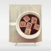 coffee Shower Curtains featuring COFFEE by elle moss