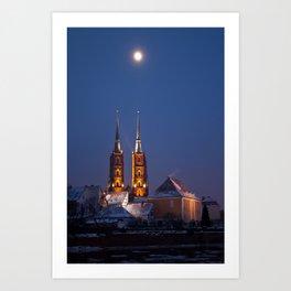 Wrocław Cathedral @night Art Print